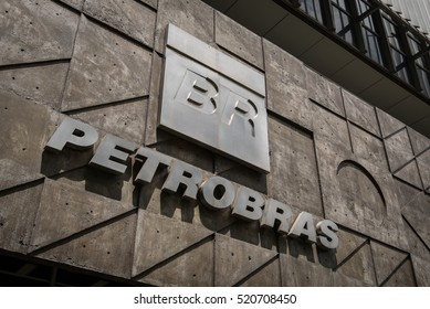 Rio de Janeiro, Brazil - November 22, 2016: Petrobras logo on its headquarters building. Petrobras is oil and gas industry giant Brazil.