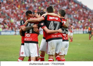 RIO DE JANEIRO, BRAZIL - NOVEMBER 19, 2017: Flamengo CR players celebrate goal during the Brazilian Football Championship game between Flamengo and the Corinthians in the Estadio Ilha do Urubu.