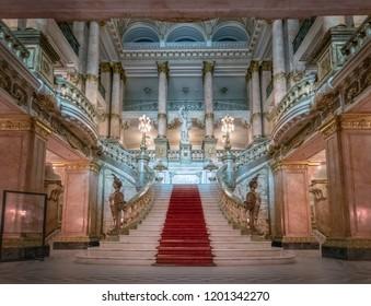Rio de Janeiro, Brazil - Oct 26, 2017: Main staircase at Rio de Janeiro Municipal Theatre interior - Rio de Janeiro, Brazil