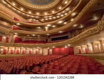 Rio de Janeiro, Brazil - Oct 26, 2017: Main stage at Rio de Janeiro Municipal Theatre interior - Rio de Janeiro, Brazil