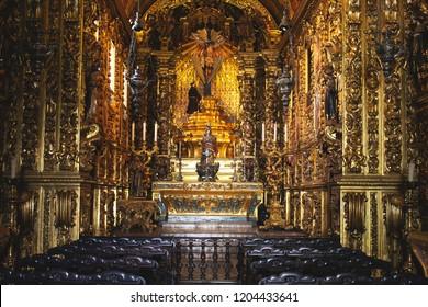 Rio de Janeiro, Brazil - October 10, 2018: The Mosteiro de Sao Bento (St. Benedict Monastery) in Centro in Rio de Janeiro. Brazil primary example of Brazilian colonial architecture