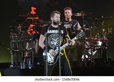 Rio de Janeiro, Brazil, October 6, 2019. Lead singer and guitarist Chad Kroeger of Nickelback during a Rock in Rio 2019 concert in Rio de Janeiro.
