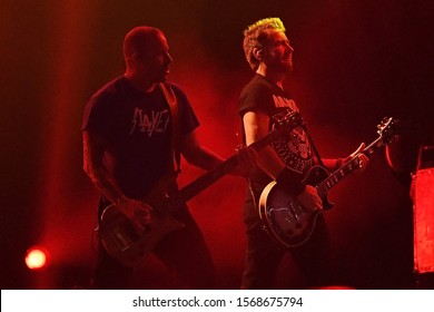 Rio de Janeiro, Brazil, October 6, 2019. Lead singer and guitarist Chad Kroeger and bassist Mike Kroeger of Canadian rock band Nickelback during a Rock in Rio 2019 concert in Rio de Janeiro.