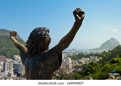 RIO DE JANEIRO, BRAZIL - OCTOBER 28: Michael Jackson memorial in Santa Marta in Rio de Janeiro on 28 Oct 2013. The statue was built shortly after musician's death in year 2009.