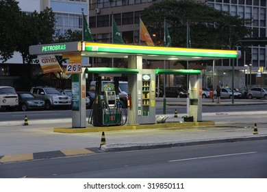 RIO DE JANEIRO, BRAZIL - OCTOBER 18, 2014: Petrobras petrol station in Rio de Janeiro. Petrobras is one of largest energy and oil companies in the world with 130 billion USD revenue in 2013.