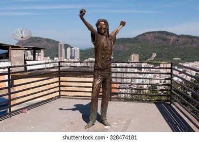 RIO DE JANEIRO, BRAZIL - OCTOBER 8, 2015: Michael Jackson memorial in Santa Marta favela. The statue was built shortly after musician's death in year 2009.
