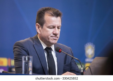 RIO DE JANEIRO, BRAZIL - October 21, 2015:  Coach Dunga during convocation of the Brazilian national football games of the FIFA World Cup 2018 in Russia