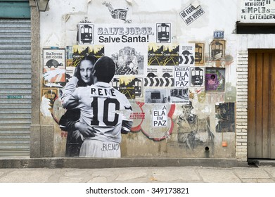 RIO DE JANEIRO, BRAZIL - OCTOBER 22, 2015: Street art depicting an intimate embrace between the football star Pele and the Mona Lisa decorates a wall in the Santa Teresa neighborhood.