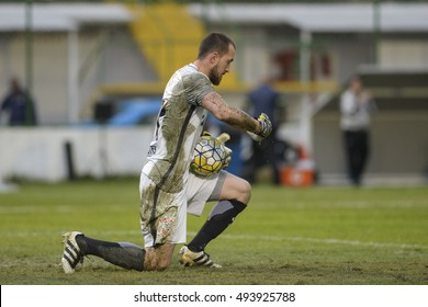 Rio de Janeiro, Brazil - october 01, 2016: Walter gool keeper in match between Botafogo and Corinthians by the Brazilian championship in the Arena Botafogo.