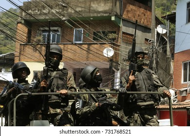 Rio de Janeiro   Brazil October 10, 2017   Brazilian army soldiers patrols the Rocinha shantytown looking for druglords.