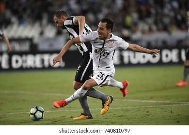 Rio de Janeiro -Brazil October 23, 2017, soccer match between Botafogo and Corinthians in the national soccer championship of Brazil in the stadium Nilton Santos