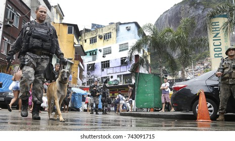 Rio de Janeiro, Brazil October 26th, 2017- Special Force Battalion search for druglords after a spanish tourist be killed during a visit to the Rocinha slum