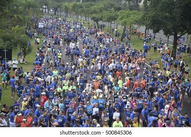 Rio de Janeiro, Brazil, Octuber 16, 2016- Marathon of the city of Rio de Janeiro.