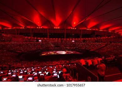 Rio de Janeiro, Brazil - september 07, 2016: opening ceremony of the Paralympics Rio 2016 at Maracana Stadium