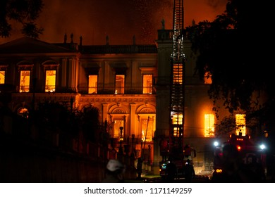 Rio de Janeiro, Brazil - september 02, 2018:  Fire in the museum of Brazil, incalculable loss as a lost 200-years-old Rio Museum Institution
