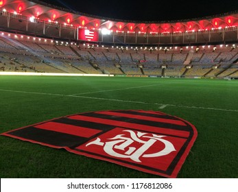 Rio de Janeiro - Brazil - September 08, 2018 - Maracanã corner flag decorated with the flag of the Flamengo Futebol   Club