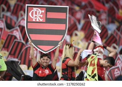 Rio de Janeiro, Brazil - September 13, 2018: football match between Flamengo and Corinthians for the Brazil Cup at the Maracanã stadium, Stadium decorated with Flamengo escorts