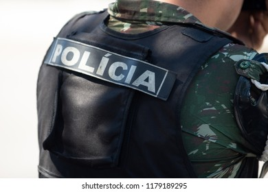 Rio de Janeiro, Brazil - september 07, 2018:  military civic parade celebrating the independence of Brazil. Policia do exercito