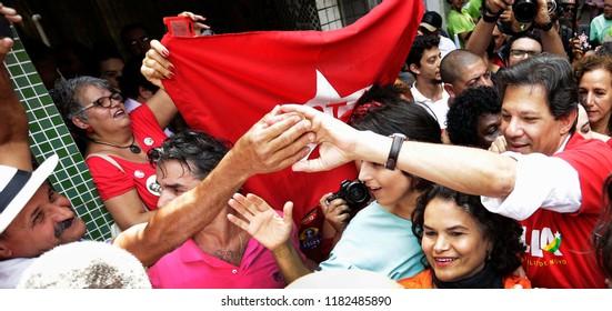 Rio de Janeiro, Brazil September, 14th, 2018   Brazilian presidential candidate Fernando Haddad (L) of Woker´s Party, during a rally at Rocinha shantytown in Rio de Janeiro.