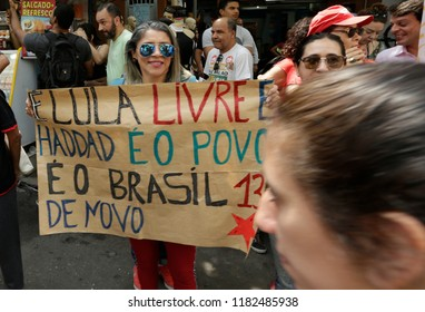 Rio de Janeiro, Brazil September, 14th, 2018 A Worker´s Party supporter shows a banner asking for the freedon of former president Luis Inacio Lula da Silva during a rally at Rocinha shantytown