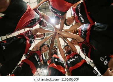 Rio de Janeiro, Brazil, September 20, 2018. Flamengo basketball players united, before the match Flamengo vs. Niterói by the state championship in the gymnasium of Flamengo in Gávea.