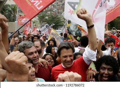 Rio de Janeiro, Brazil September, 14th, 2018  Brazilian presidential candidate Fernando Haddad of Woker´s Party,during a rally at Rocinha shantytown