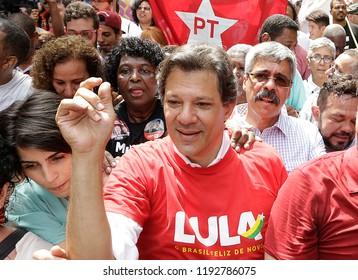 Rio de Janeiro, Brazil September, 14th, 2018   Brazilian presidential candidate Fernando Haddad of Woker´s Party, during a rally at Rocinha shantytown in Rio de Janeiro.