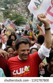 Rio de Janeiro, Brazil September, 14th, 2018  Brazilian presidential candidate Fernando Haddad of Woker´s Party, during a rally at Rocinha shantytown