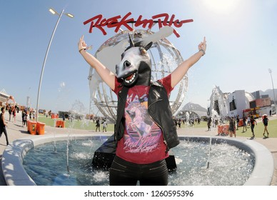 Rio de Janeiro, Brazil, September 21, 2017. Rock fans arriving for another day of the Festival at Rock in Rio in the city of Rio de Janeiro.