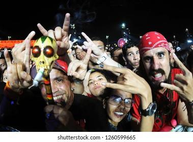Rio de Janeiro, Brazil, September 21, 2017. Fans of Rock and music during the Rock in Rio Festival in the city of Rio de Janeiro.