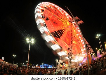 Rio de Janeiro, Brazil, September 21, 2017. Effects of low speed on the toy of the Giant Wheel of Rock in Rio Festival, in the city of Rio de Janeiro.