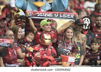 Rio de Janeiro, Brazil, September 14, 2019.  Flamengo x Santos  match for the Brazilian Championship in Maracanã stadium.