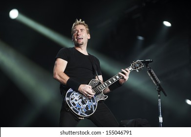 RIO DE JANEIRO, BRAZIL - SEPTEMBER 20: Chad Kroeger, lead vocalist of the Canadian band Nickelback, performs during the Rock in Rio 2013 concert, on September 20, 2013 in Rio de Janeiro, Brazil.