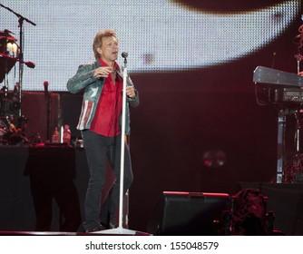 RIO DE JANEIRO, BRAZIL - SEPTEMBER 20: Jon Bon Jovi, lead singer of the US rock band Bon Jovi, performs during the Rock in Rio 2013 concert, on September 20, 2013 in Rio de Janeiro, Brazil.