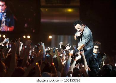 RIO DE JANEIRO, BRAZIL - SEPTEMBER  21:  US singer Bruce Springsteen performs among the audience during the Rock in Rio 2013 concert ,  on September 21, 2013, in Rio de Janeiro, Brazil.