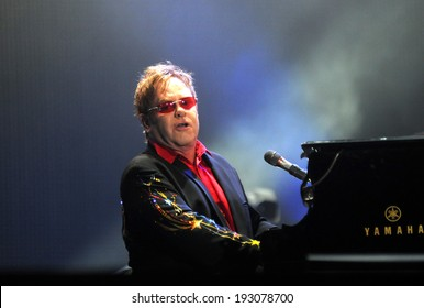 RIO DE JANEIRO, BRAZIL - September 12, 2011: Singer Elton John performing at the Rock in Rio held at Parque Olimpico Cidade do Rock in Barra da Tijuca.