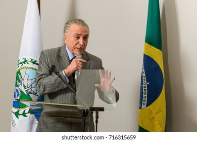 Rio de Janeiro, Brazil - september 15, 2017:  President of Brazil Michel Temer during Inauguration at the radiosurgery center of the State Brain Institute in Rio de Janeiro
