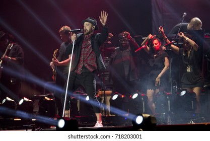 Rio de Janeiro, Brazil   September 17th, 2017-  US singer Justin Timberlake performs during  the  Rock in Rio 2017 concert