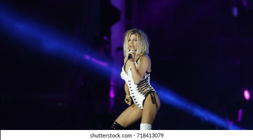 Rio de Janeiro, Brazil   September 15th, 2017-   US singer Fergie performs  during the  Rock in Rio 2017 concert