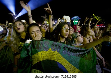 Rio de Janeiro, Brazil   September 15th, 2017-  5 Seconds of Summer fans  during the  Rock in Rio 2017 concert