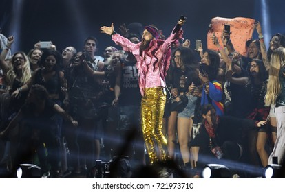 Rio de Janeiro, Brazil   September 23th, 2017-  US rock band Jared Leto of  30 Seconds to Mars  performs with invited fans on the stage during  the  Rock in Rio 2017 concert