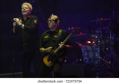 "Rio de Janeiro, Brazil   September 24th, 2017-  US rock band Offspring  Kevin ""Noodles"" Wasserman (R) and Dexter Holland  performs during  the  Rock in Rio 2017 concert"