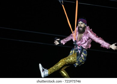 Rio de Janeiro, Brazil   September 23th, 2017-  US rock band Jared Leto of  30 Seconds to Mars  performs hanged on a zipline during  the  Rock in Rio 2017 concert
