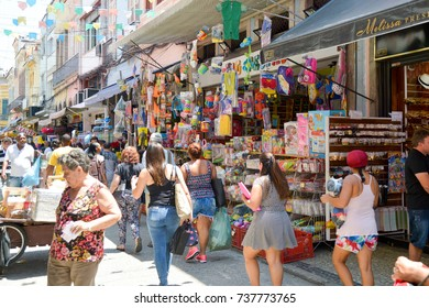 "Rio de Janeiro, Brazil - september 09, 2017:  Street of the ""Saara"" region, popular street shopping place in the city"
