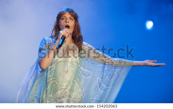 RIO DE JANEIRO, BRAZIL - SEPTEMBER 14: The British singer Florence performs during the  Rock in Rio 2013 concert on September 14, 2013 in Rio de Janeiro, Brazil.