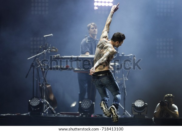 Rio de Janeiro, Brazil   September 16th, 2017- US singer Adan Levine of Maroon 5  band performs during the  Rock in Rio 2017 concert
