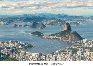 Rio de Janeiro, Brazil, view from the Christ the Redemtor statue at a sunny day