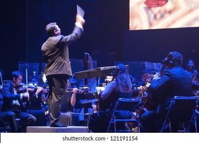 RIO DE JANEIRO - DEC 1: conductor Vantoil de Sousa and Orquestra Sinfonica de Barra Mansa. Event 17 Arvore de Natal Bradesco Seguros, December 1, 2012 in Rio de Janeiro, Brazil