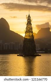 RIO DE JANEIRO - DEC 4: structure of the Arvore de Natal Bradesco Seguros with 85 meters of height. Event 17 Arvore de Natal Bradesco Seguros, December 4, 2012 in Rio de Janeiro, Brazil