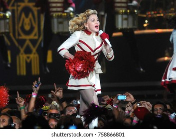 Rio de Janeiro, December 2, 2012. Singer Madonna performs during turner of her show at the Athletes' Park in the city of Rio de Janeiro, Brazil